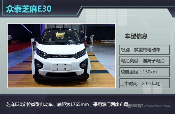 续航里程150公里 众泰新两座电动车年底上市