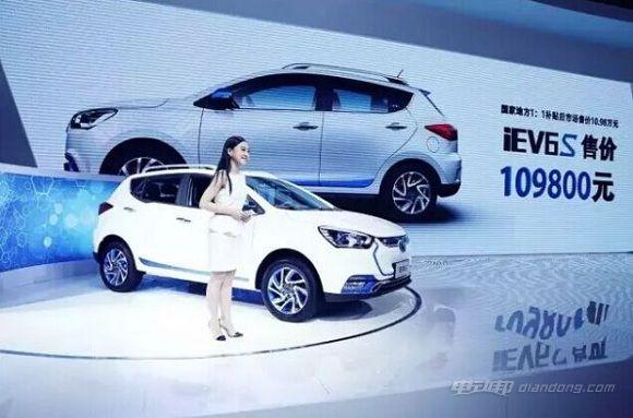 预计江淮电动汽车iEV6S月销量将达到1000辆