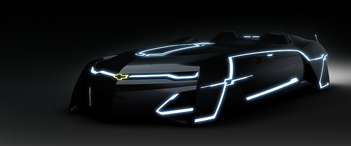 """8.""""创界:雪佛兰数字挑战""""驾驭互动体验区展示的车款光梭"""