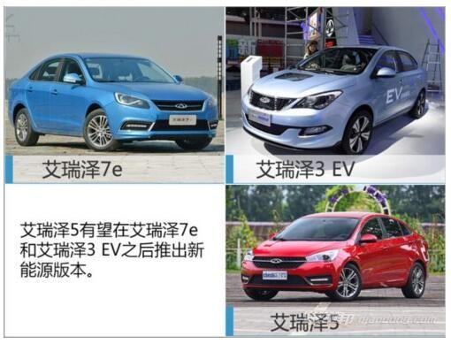 奇瑞将推多款电动汽车SUV艾瑞泽系现有的新能源车型