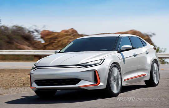 威马汽车首款纯电动三厢轿车的假想图