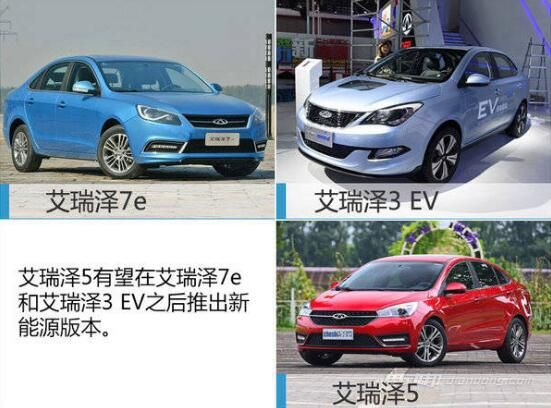 艾瑞泽系现有新能源车型