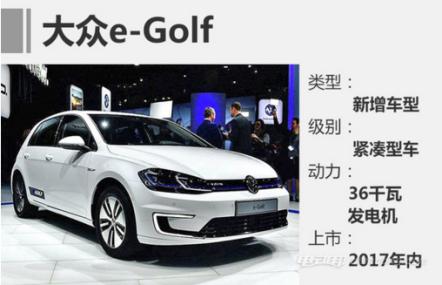 2017年大众旗下多款新能源汽车即将上市