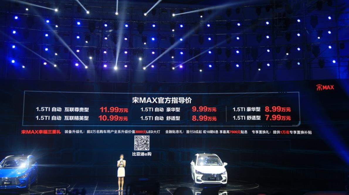 燃油版只是个开始 比亚迪宋MAX售7.99-11.99万元