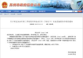 苏州发布充电服务标准 最高2.04元/千瓦时