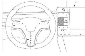 特斯拉内饰专利曝光,怀挡取消,方向盘上增加两块触控屏幕