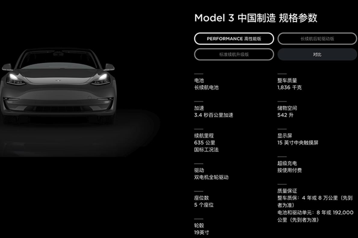 635公里!特斯拉Model 3高性能版续航里程公布