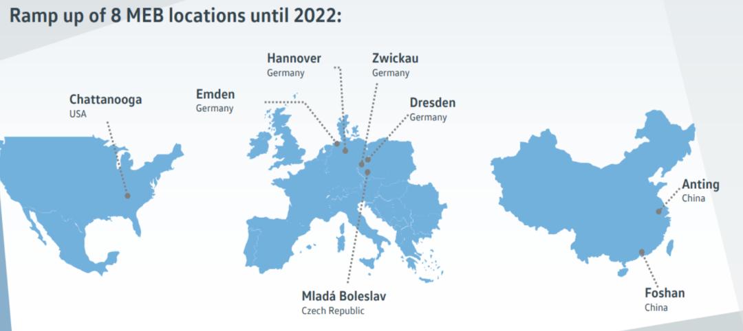 大众MEB世界工厂布局(截至2022年)