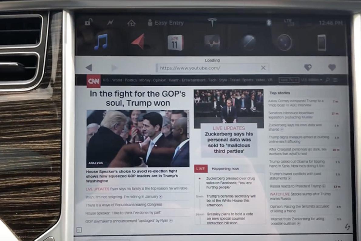 特斯拉的车内互联网浏览器即将更新,将升级为Chromium